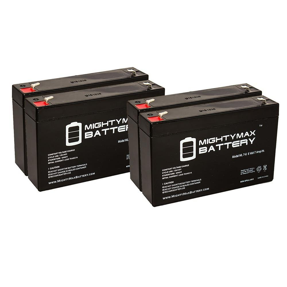 MIGHTY MAX BATTERY 6-Volt 7 Ah Sealed Lead Acid Rechargeable Battery (4-Pack)