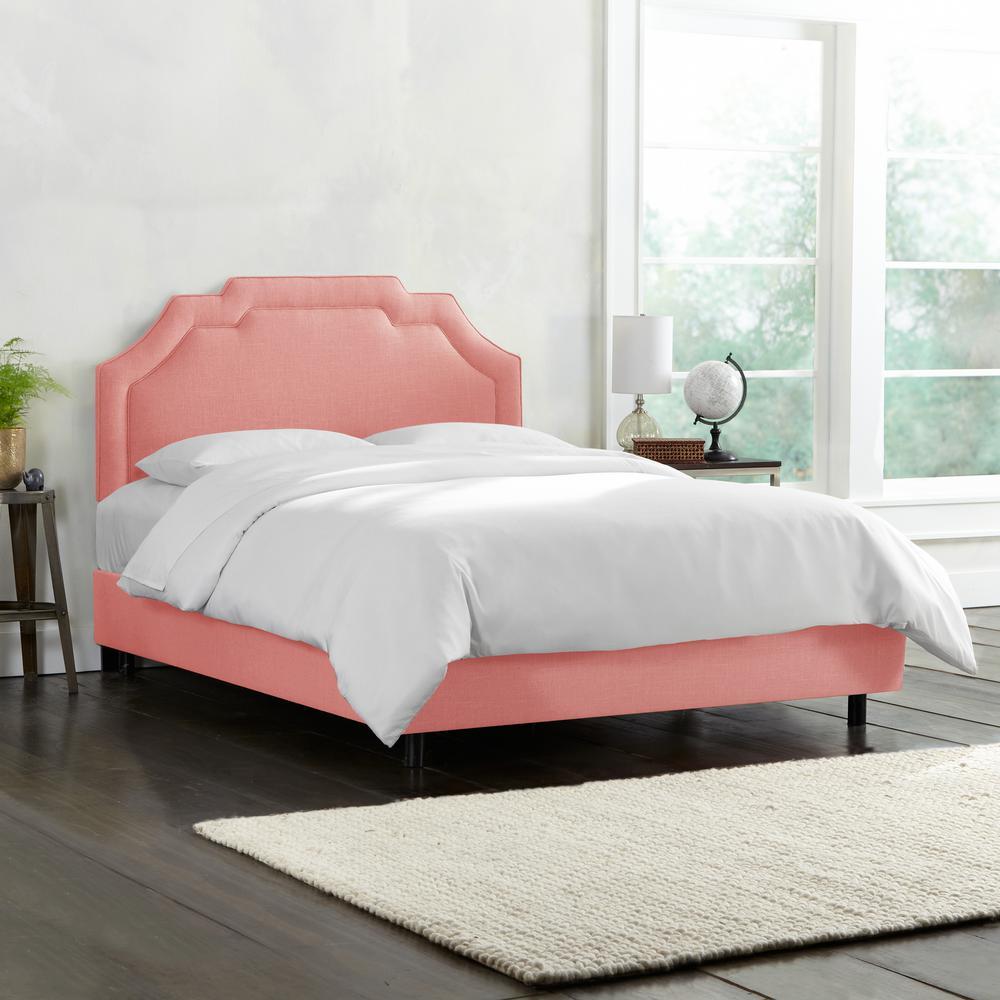 Leona Linen Petal California King Upholstered Border Bed