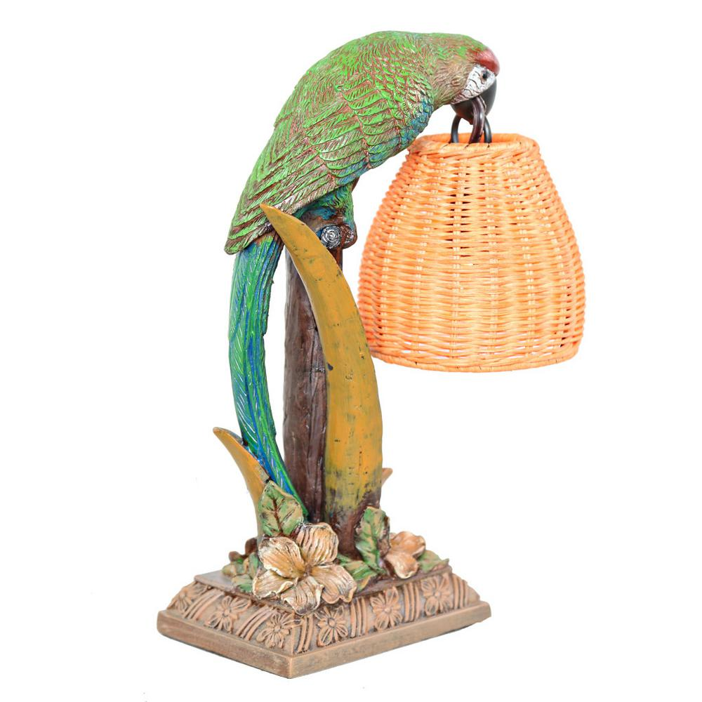 River of Goods 13.8 in. Multi-Colored Welcoming Parrot Table Lamp with Wicker Basket Shade