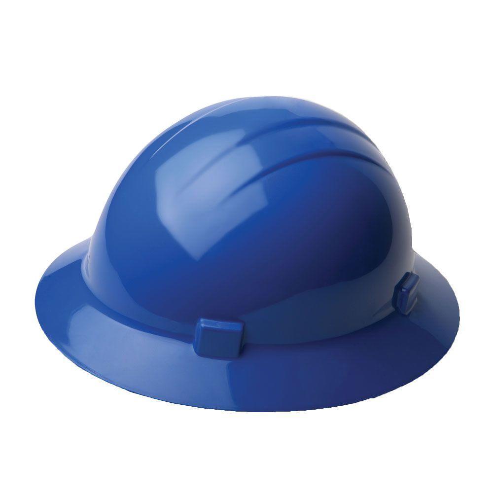 4 Point Nylon Suspension Mega Ratchet Full Brim Hard Hat in Blue