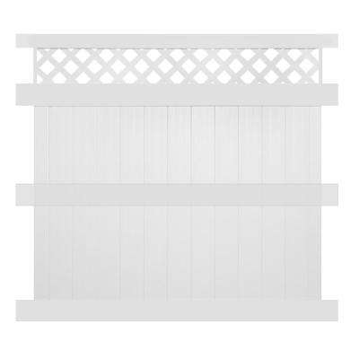 Ashton 8 ft. H x 8 ft. W White Vinyl Privacy Fence Panel Kit
