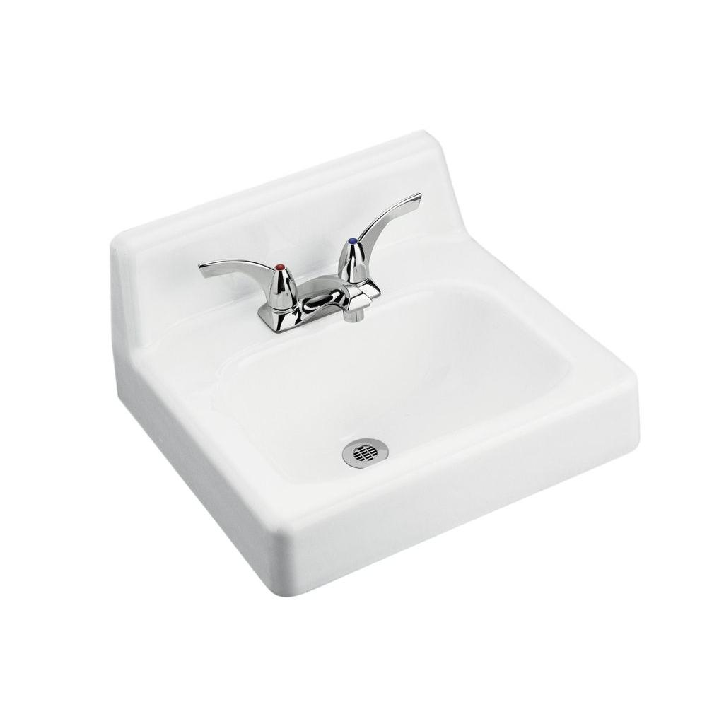 Hudson Wall-Mount Cast Iron Bathroom Sink in White with Overflow Drain