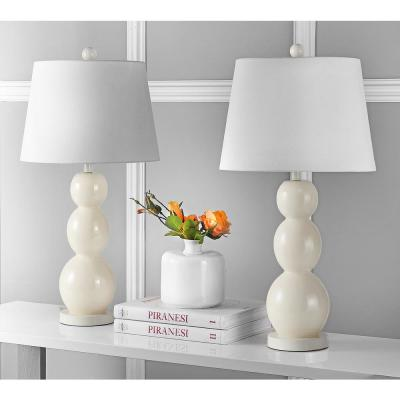 Jayne 27.5 in. Light Grey Three Sphere Glass Table Lamp with White Shade (Set of 2)