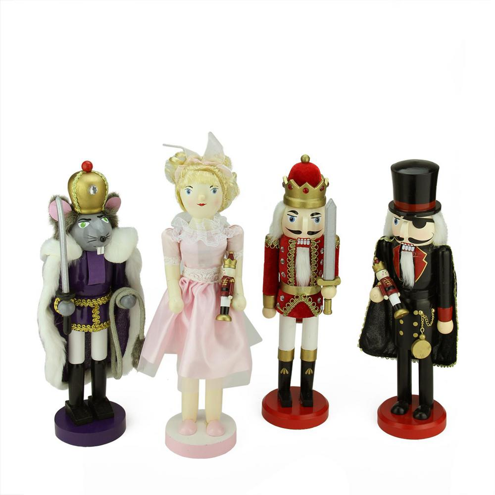 Decorative Wooden Nutcracker Suite Ballet Christmas Decorations (Set of 4)