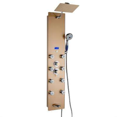 52 in. 8-Jet Shower Panel System in Gold Tempered Glass with Rainfall Shower Head, LED Display, Handshower and Tub Spout