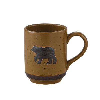 Sawmill 12 oz. Brown Ceramic Bear Coffee Mug (Set of 4)