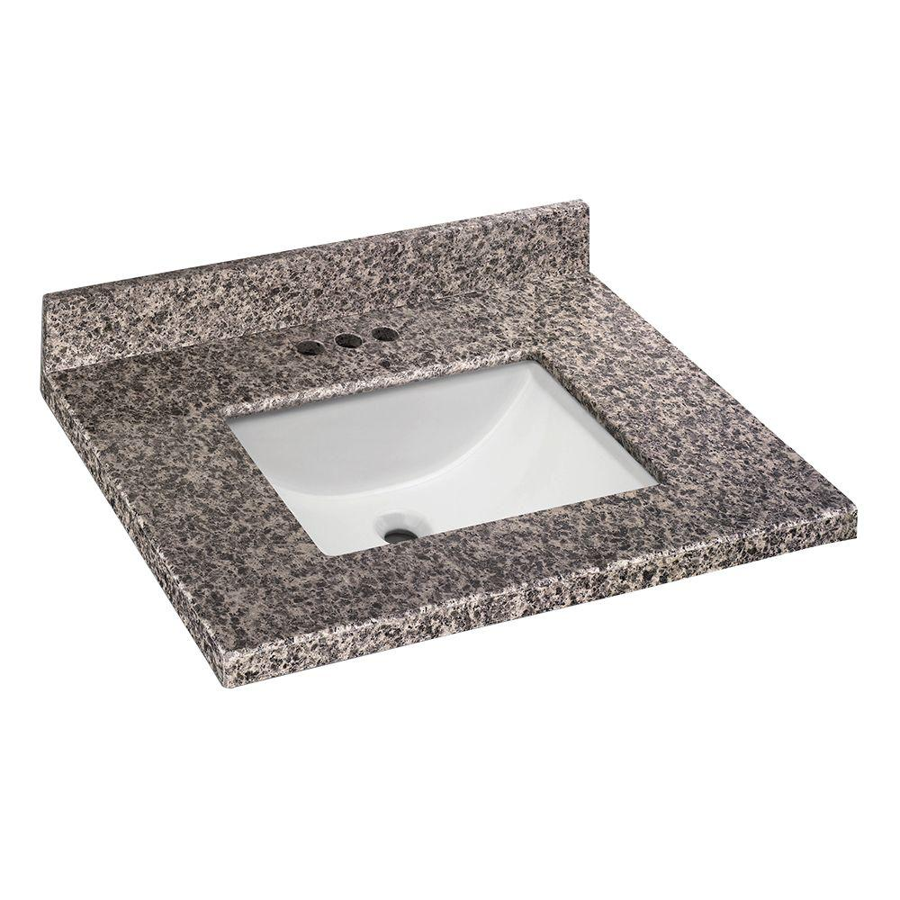 Home Decorators Collection 25 in. W x 22 in. D Granite Vanity Top in Sircolo with White Single Trough Sink