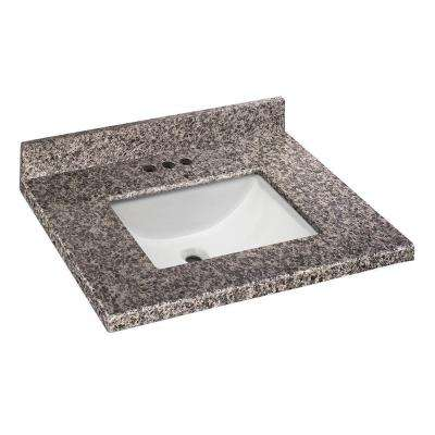 25 in. W x 22 in. D Granite Vanity Top in Sircolo with White Single Trough Sink