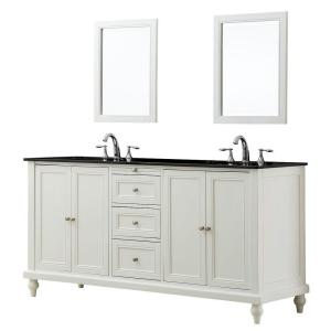 Click here to buy Direct vanity sink Classic 70 inch Double Vanity in Pearl White with Granite Vanity Top in Black Mirrors by Direct vanity sink.