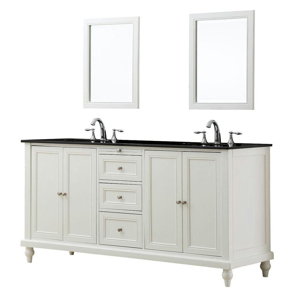 Direct vanity sink Classic 70 inch Double Vanity in Pearl White with Granite Vanity Top in Black Mirrors by Direct vanity sink