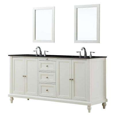 Classic 70 in. Double Vanity in Pearl White with Granite Vanity Top in Black Mirrors