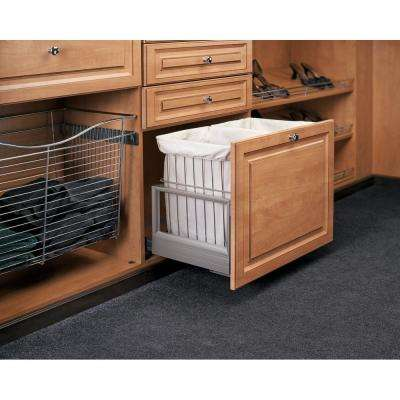 24 in. x 19 in. White Wire Soft Close Pull-Out Hamper Basket