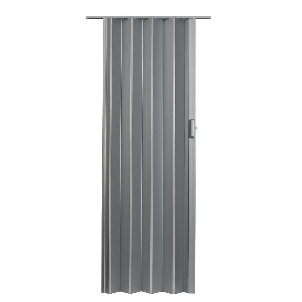 36 in. x 80 in. Elite Vinyl Satin Silver Accordion Door