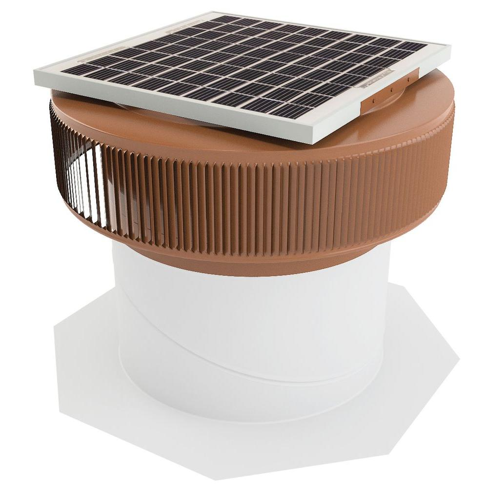 Active Ventilation 1007 CFM Brown Powder Coated 15-Watt Solar Powered 14 in. Dia Retrofit Attic Roof Fan