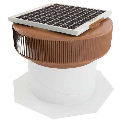 1007 CFM Brown Powder Coated 15-Watt Solar Powered 14 in. Dia Retrofit Attic Roof Fan