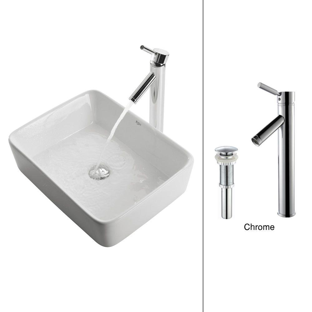 KRAUS Rectangular Ceramic Vessel Sink in White with Sheven Faucet in Chrome
