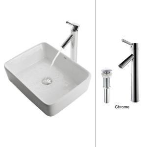 Kraus Rectangular Ceramic Vessel Sink in White with Sheven Faucet in Chrome by KRAUS