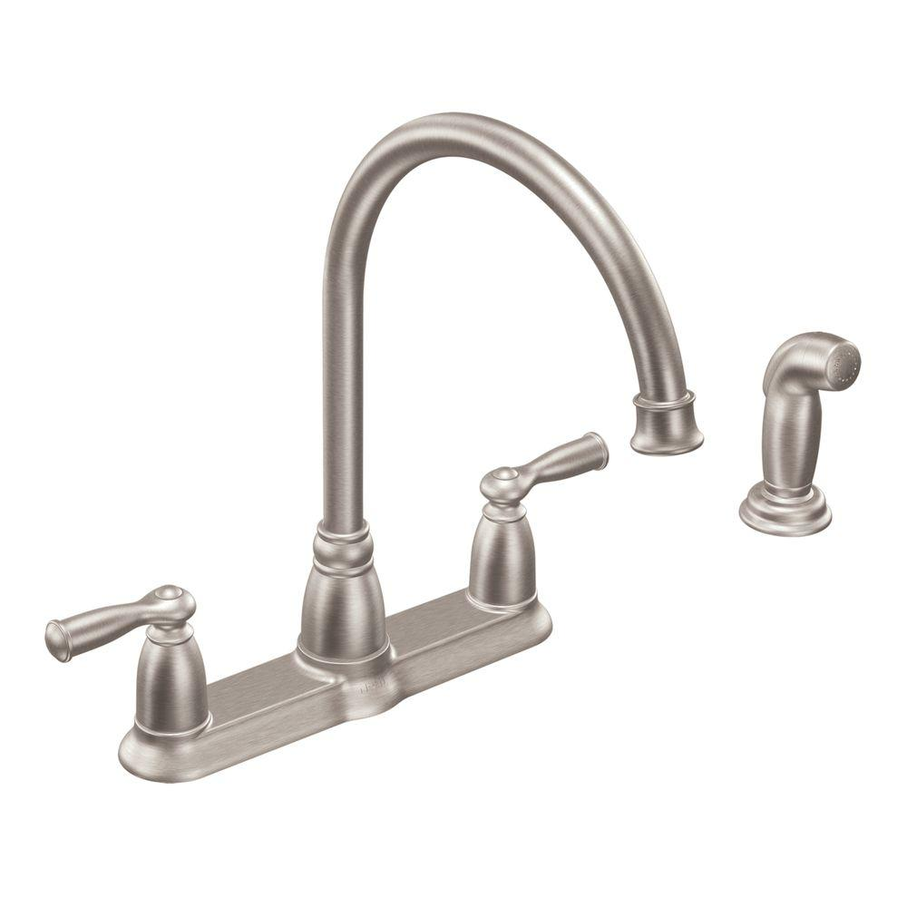Beau MOEN Banbury High Arc 2 Handle Standard Kitchen Faucet With Side Sprayer In  Spot