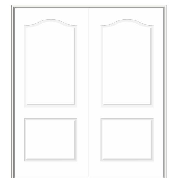 60 in. x 80 in. Smooth Princeton Both Active Solid Core Primed Molded Composite Double Prehung Interior Door