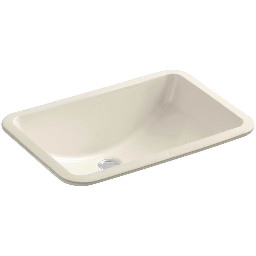 "KOHLER Ladena 20 7/8"" Undermount Bathroom Sink with Glazed Underside in Almond"