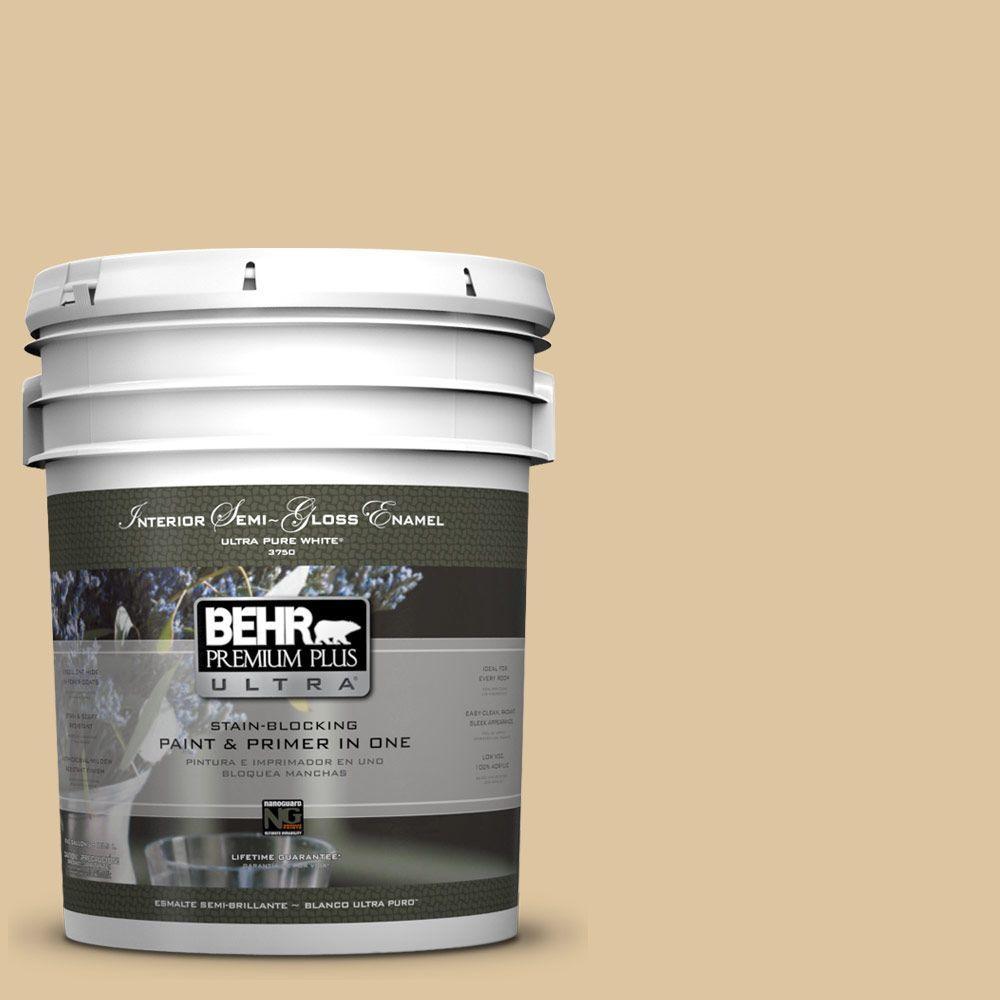 5-gal. #320E-3 Riviera Sand Semi-Gloss Enamel Interior Paint