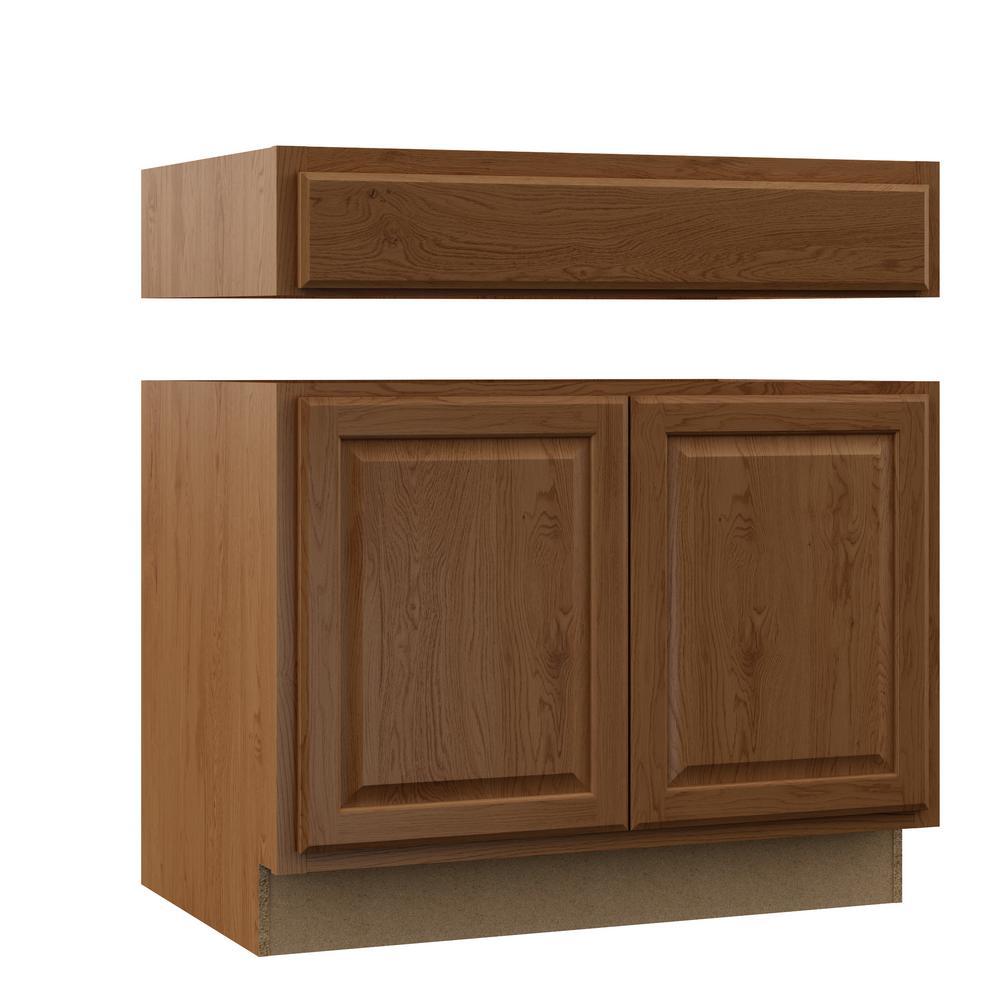 Hampton Assembled 36x34.5x24 in. Accessible ADA Sink Base Kitchen Cabinet in Medium Oak