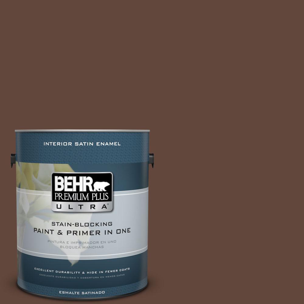 BEHR Premium Plus Ultra 1-gal. #S-G-760 Chocolate Coco Satin Enamel Interior Paint