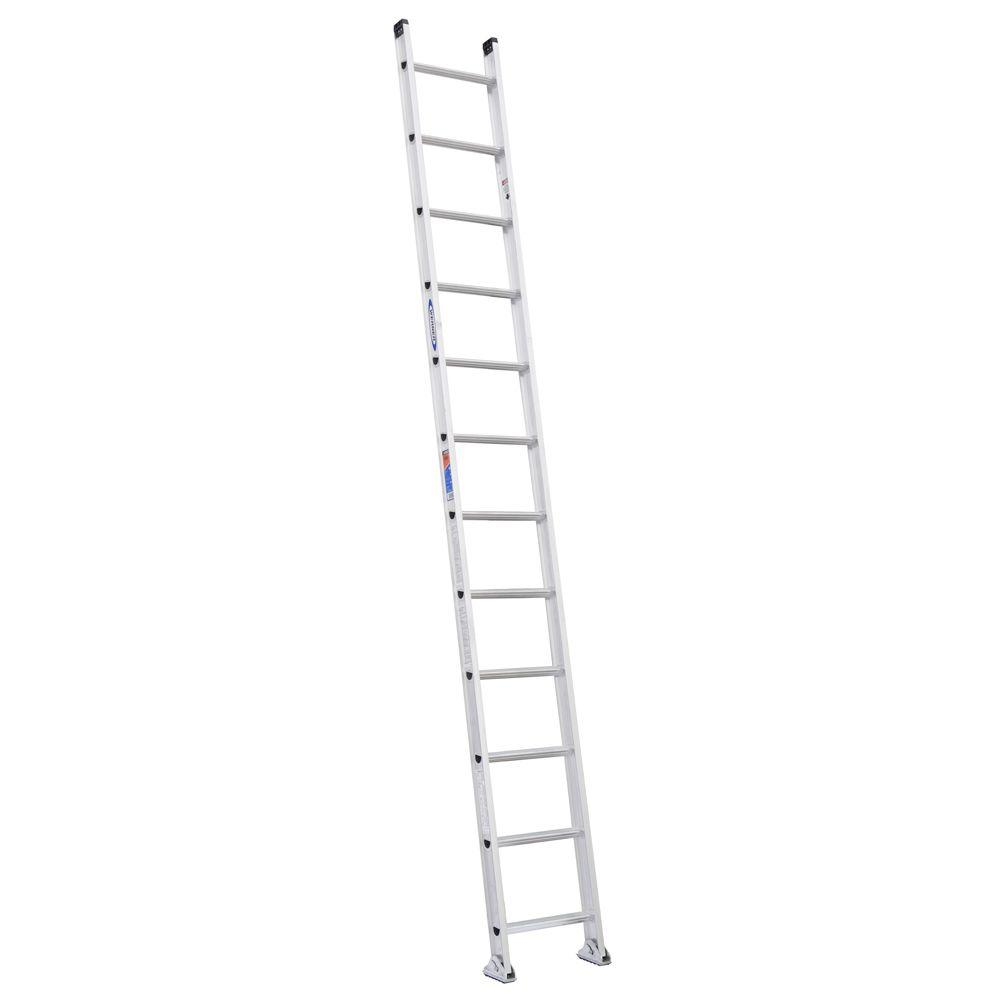 12 ft. Aluminum D-Rung Straight Ladder with 300 lb. Load Capacity