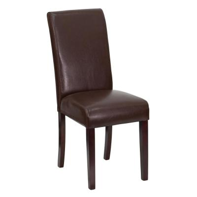 Dark Brown Leather Upholstered Parsons Chair