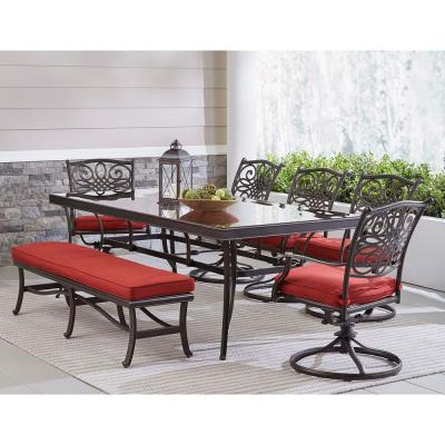 Traditions 7-Piece Aluminum Outdoor Patio Dining Set with Red Cushions