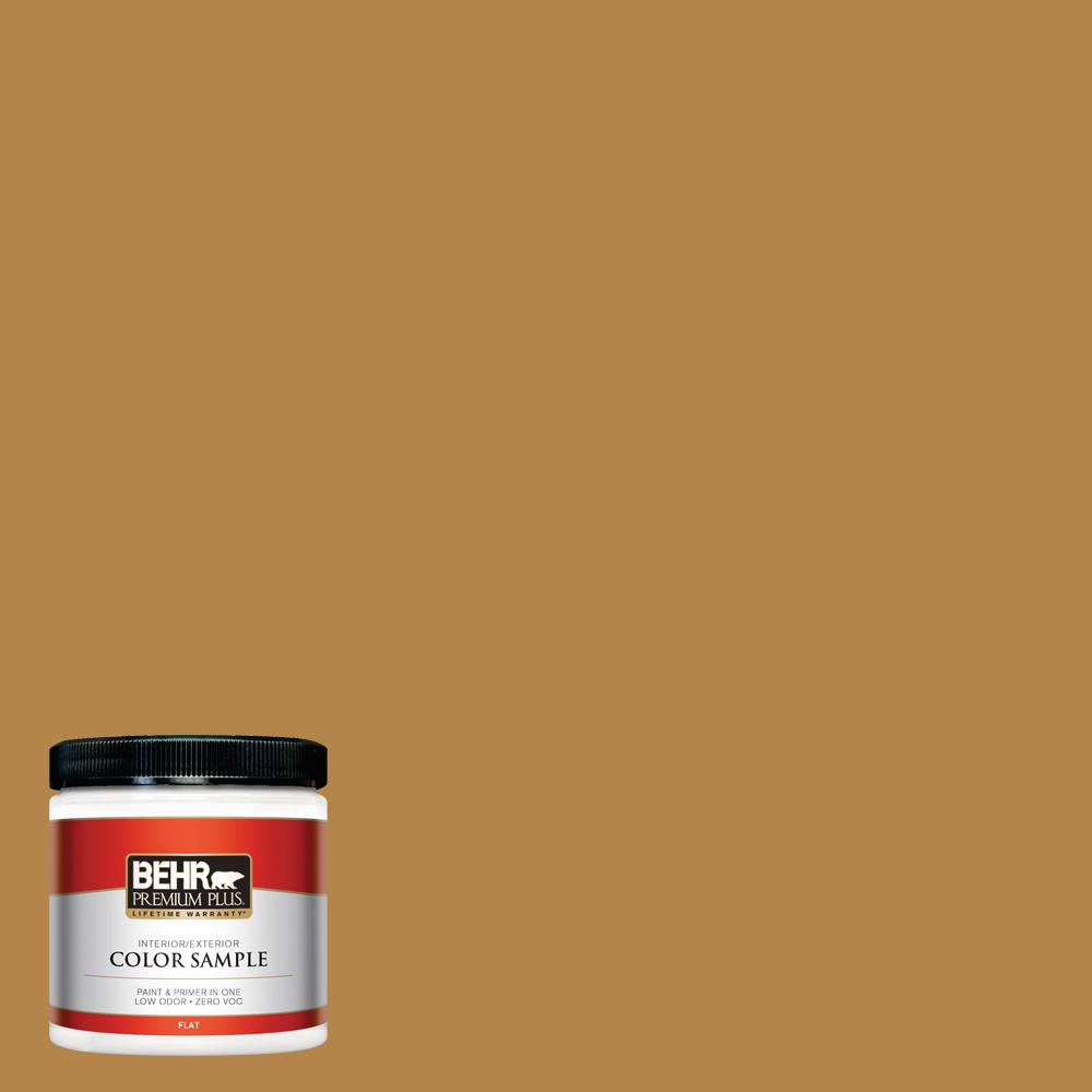 8 oz. #MQ4-9 Rice Curry Flat Interior/Exterior Paint and Primer in