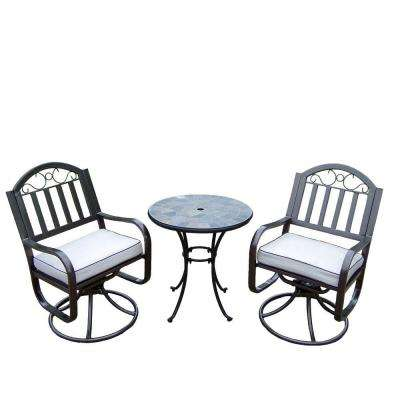 Stone Art Rochester 3-Piece Swivel Patio Bistro Set with Solid Cushions and 26 in. Table