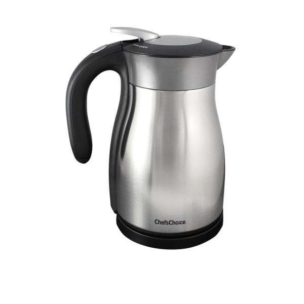 Chef'sChoice 5-Cup Black Stainless Steel Electric Kettle with Automatic