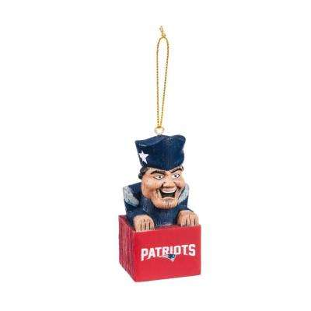 New England Patriots 1-1/2 in. NFL Mascot Tiki Totem Christmas Ornament