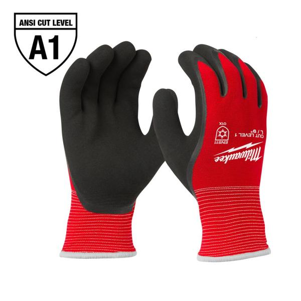 Medium Red Latex Level 1 Cut Resistant Insulated Winter Dipped Work Gloves