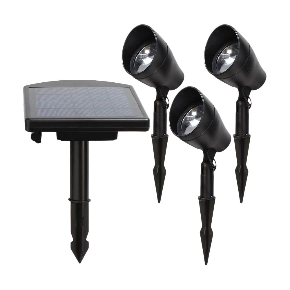 Hampton Bay Solar Black Outdoor Integrated Led 3000k Warm White Landscape Spot Light Kit With Remote Panel 3 Pack