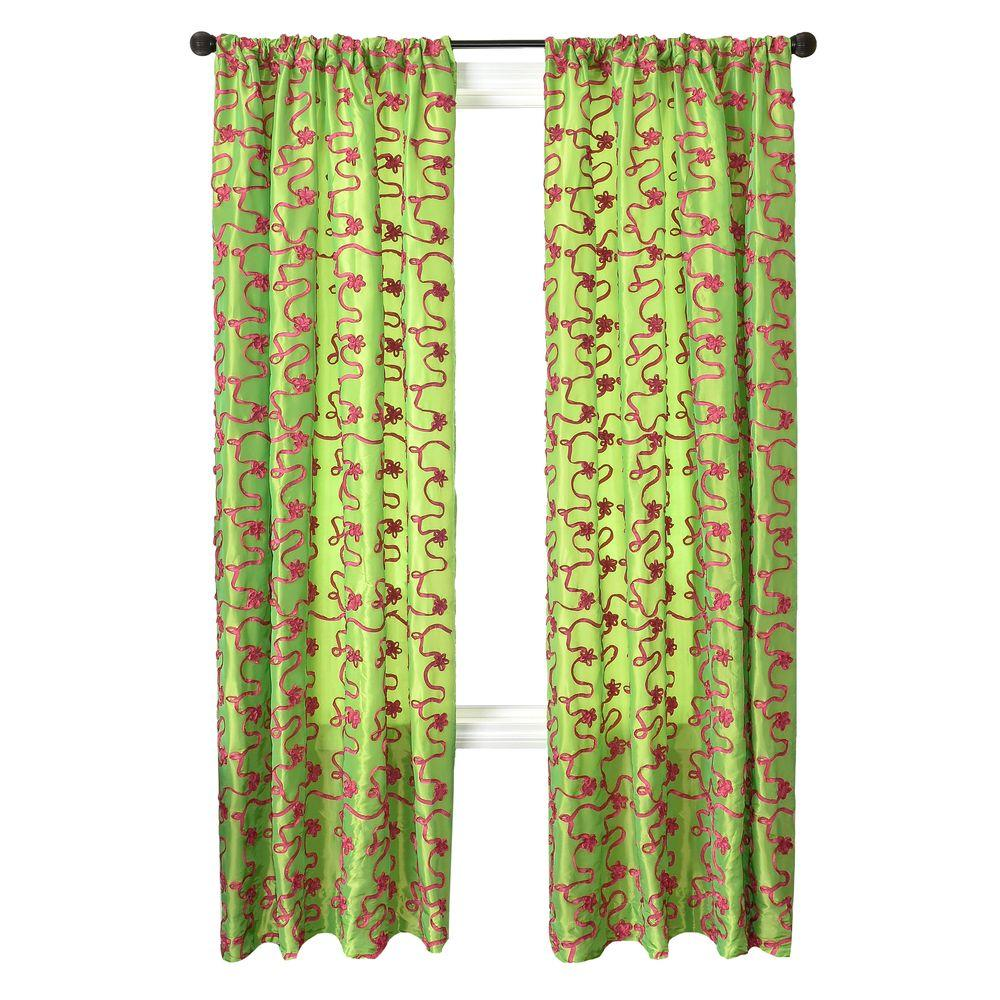Home Decorators Collection Sheer Lime/Pink Bliss Rod Pocket Curtain - 54 in.W x 96 in. L
