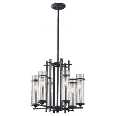Ethan 6-Light Antique Forged Iron/Brushed Steel 1-Tier Chandelier Shade