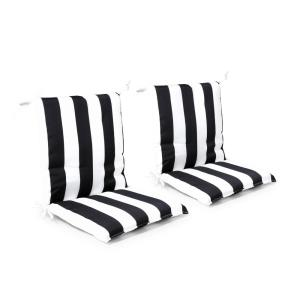 20 in. x 37 in. x 3 in. Black Cabana Stripe Outdoor Mid-back Dining Chair Cushion (2 Pack)