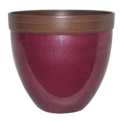 Devyn 14.5 in. Dia Rumba Red Resin Planter