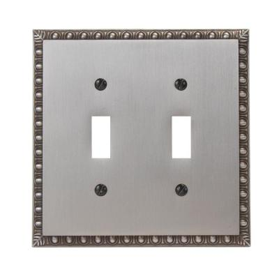 Antiquity 2 Gang Toggle Metal Wall Plate - Antique Nickel