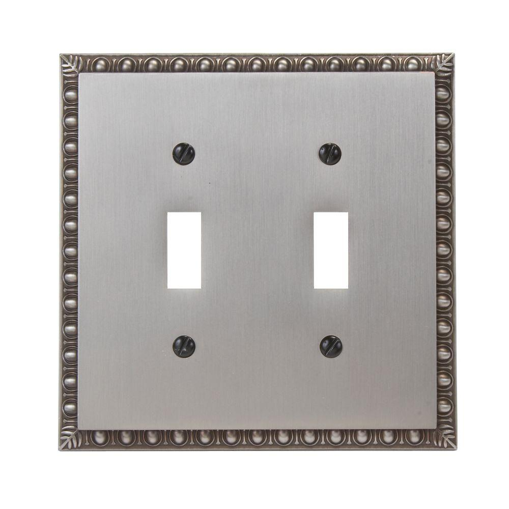Amerelle Renaissance 2 Toggle Wall Plate - Antique Nickel