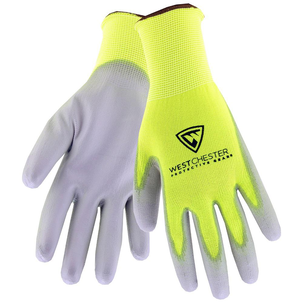 WestChesterProtectiveGear West Chester Protective Gear Touch Screen Hi-Vis X-Large Yellow PU Palm Coated Nylon Gloves, Adult Unisex