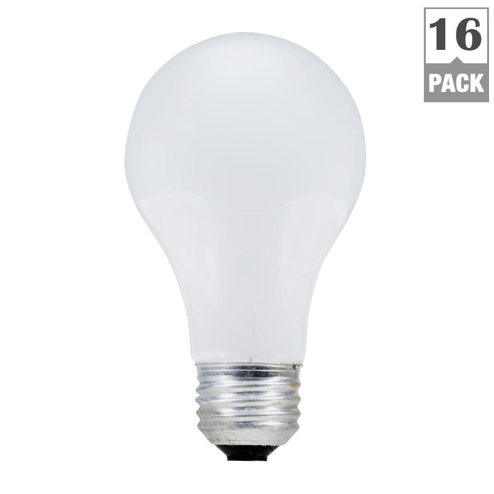 100-Watt A19 Halogen Light Bulb (16-Pack)