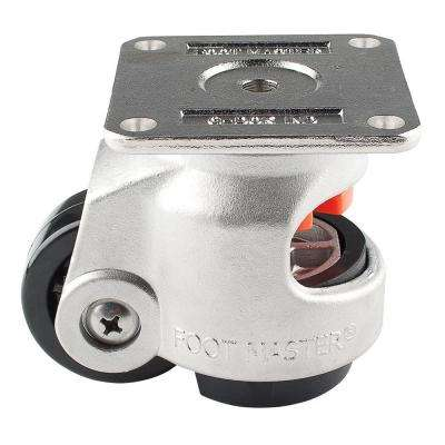 2-1/2 in. Nylon Cast Stainless Steel Wheel Top Plate Leveling Caster with Load Rating 1100 lbs.