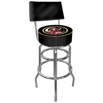 Miller High Life Girl in the Moon 30 in. Chrome Swivel Cushioned Bar Stool