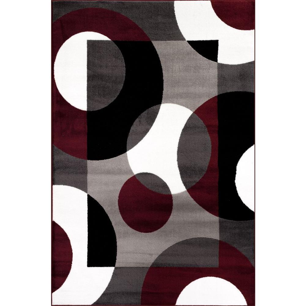 World Rug Gallery Modern Circles Burgundy 5 Ft 3 In X 7