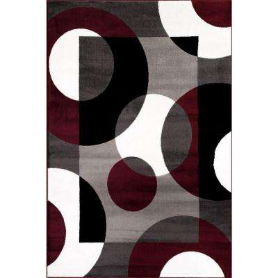 Modern Circles Burgundy 5 ft. 3 in. x 7 ft. 3 in. Indoor Area Rug