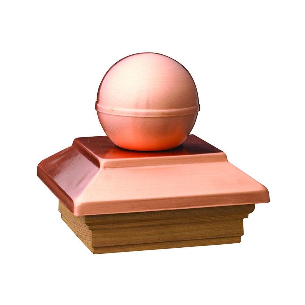 DeckoRail Pressure-Treated 6 in. x 6 in. Pine Copper Ball Top Post Cap