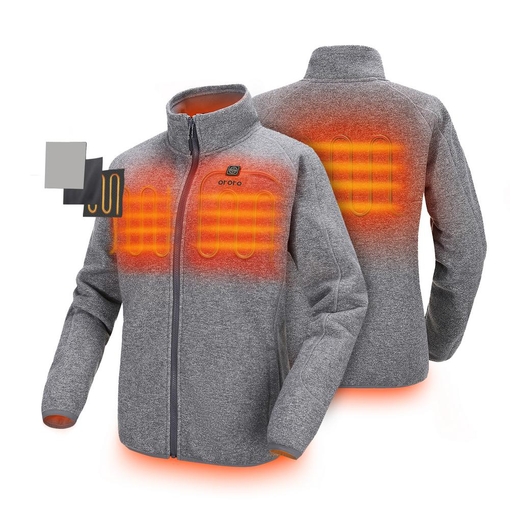 ORORO Women's X-Large Gray 7.4-Volt Lithium-Ion Heated Fleece Jacket with 1-5.2Ah Battery and Charger